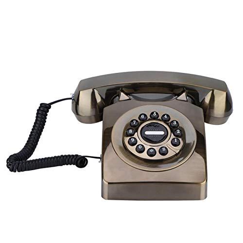 PUSOKEI Teléfono Antiguo Vintage, teléfono Retro con Cable con Sonido Claro, Almacenamiento de números de Soporte, decoración clásica para Accesorios para el hogar(Bronce)