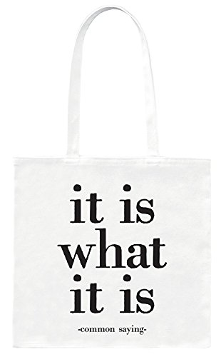 Quotable 'It is what it is' Quote Cotton Canvas Tote Bag 14' X 14'