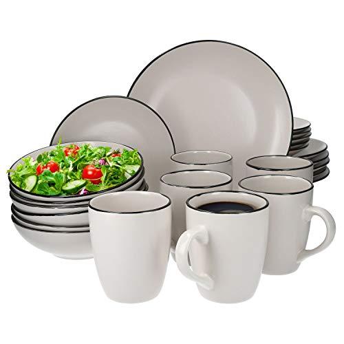Van Well 24tlg. Geschirrset Campo Creme | 6 Personen | Kaffeebecher + Schüssel tief + Kuchenteller + Speiseteller flach | edles Keramik | spülmaschinengeeignet