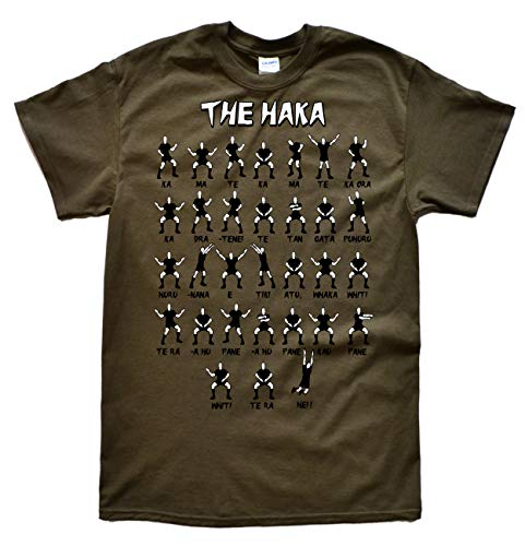 JeKat New Zealand Rugby Haka Olive T-Shirt, Taille M