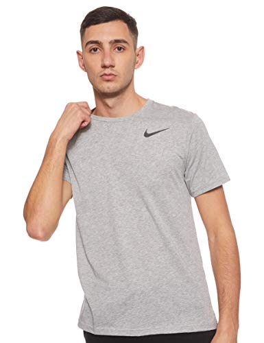 Nike Herren T-Shirt Dri-Fit Breathe, Dark Grey Heather/Black, M, AJ8002-063