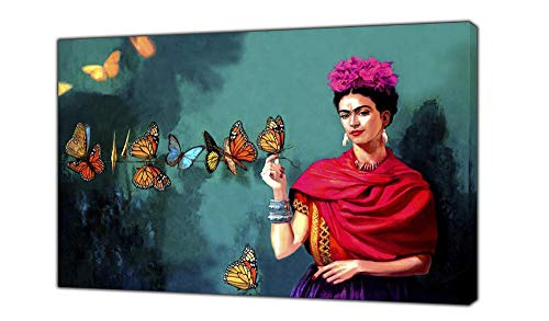 WWWMR Frida Kahlo and Butterfly Paint Reprint On Framed Canvas Wall Art Home Decoration 34 X 24Inch (86 X 60 CM)