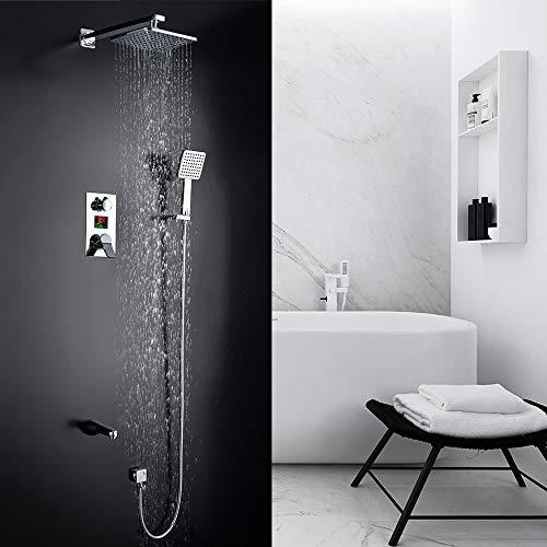 Homelody Douchesysteem met 3 functies, lcd-display, inbouw doucheset met douchekop, hoofddouche, regendouche, handdouche en armatuur, douchearmatuur, douche