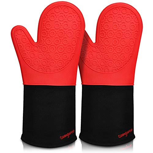Sungwoo Extra Long Silicone Oven Mitts, Durable Heat Resistant Oven Gloves with Quilted Liner Non-Slip Textured Grip Perfect for BBQ, Baking, Cooking and Grilling - 1 Pair 14.6 Inch Red