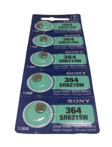 Sony, confezione da 10 pile a bottone per orologio, SR621SW, SR-621SW, 364