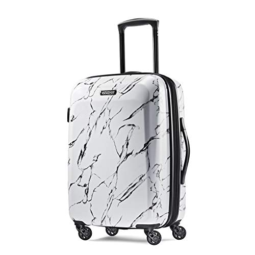 American Tourister Moonlight Hardside Expandable Luggage with Spinner Wheels, Marble, Checked-Medium 24-Inch