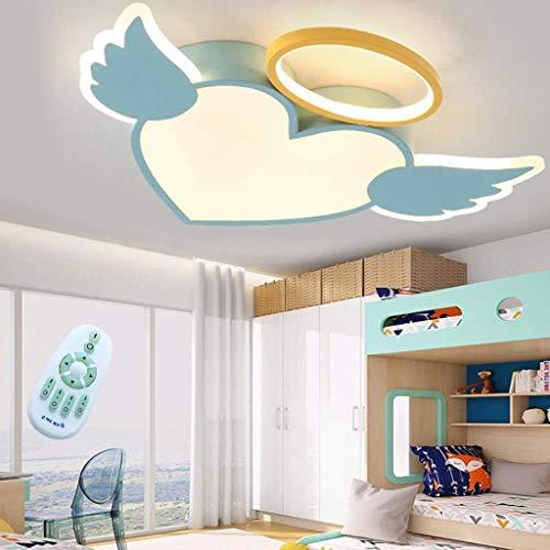 Lámpara de techo LED Diseño moderno de ala de ángel con diseño de alas de ángel y corazón de amor de dibujos animados regulable con control remoto Luz de techo de acrílico Niños y niñas Habi