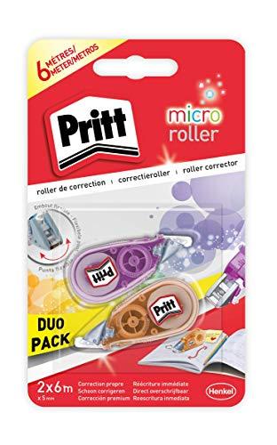 Pritt Micro Rolli, correctores de bolígrafo para tapar errores, cintas correctoras que no dejan manchas, corrector escolar en azul, verde y rosa, 2 (5mm x 6m)