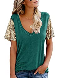 B-Green Sequin Short Sleeve Tee V Neck Loose Blouse