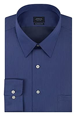 Arrow Men's Dress Shirts Regular Fit Sateen Solid