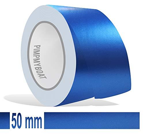 Siviwonder Zierstreifen blau metallic matt in 50 mm Breite und 10 m Länge für Auto Boot Jetski Modellbau Klebeband Aufkleber Folie Dekorstreifen