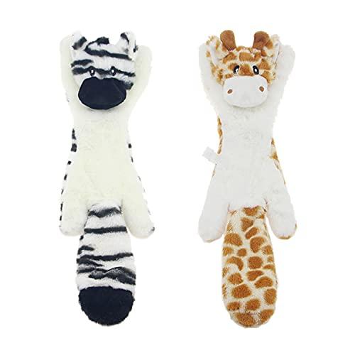 JINYJIA Quietschende Spielzeug für Hund, Keine Füllung dauerhaft Hund Plüschspielzeug, Sicher Interaktive Kauspielzeug für Kleine & Mittel Hunde - 2 Stück (Hirsch & Zebra)