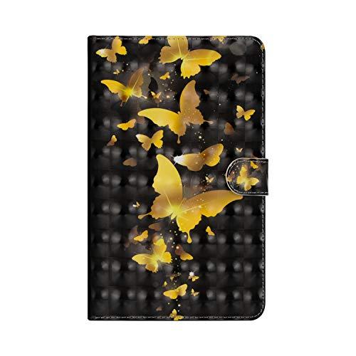 KimsCase Funda para Samsung Galaxy Tab 3 8.0 Pulgadas SM-T310/T311/T315 Libro Piel Cuero Silicona con Tapa y Cartera Magnetica Dibujos Resistente Carcasa Case Antigolpes TPU Bumper Cover - Mariposa