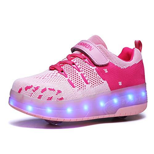Zapatillas de skate para niños y niñas con LED, con doble rueda, para deportes al aire libre, gimnasia, fitness, carga USB, 7 colores intermitentes y luminosos., color Rosa, talla 30 EU