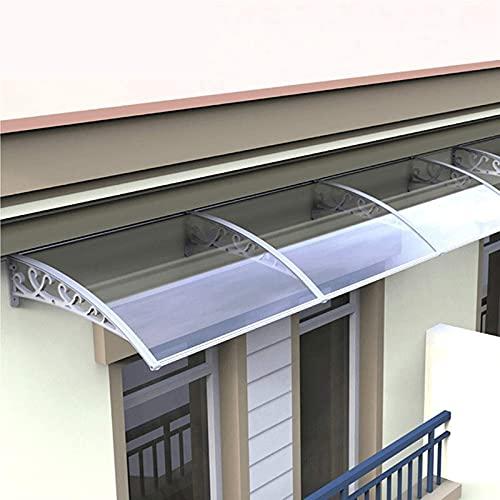60 * 60cm Tejadillo de Protección Marquesina Transparente Policarbonato Abrigo Protección contra La Lluvia Ligero y Durable Instalar sobre La Puerta Exterior