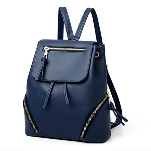 JIFNCR Womens Casual Lederrucksack Casual Daypack Hochleistungs-Mehrfachtaschen Damenrucksack Multifunktions-Tasche für das tägliche Bürogeschenk, blau
