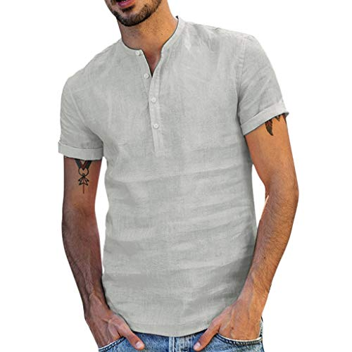 Maglietta T-Shirt da Uomo Estivo Top Estivi da Uomo Camicia in Cotone Lino a Maniche Corte con Bottoni Classici Maglietta Girocollo Top Abbigliamento Tendenza Estiva Maschio