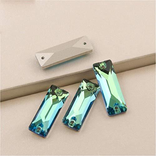 3255 Cosmic Baguette AAAAA Diamantes de imitación cosidos Flat Back Glitter Strass DIY Cristales de Piedras de Vidrio para Costura, Peridot, 9x26mm 72Pcs