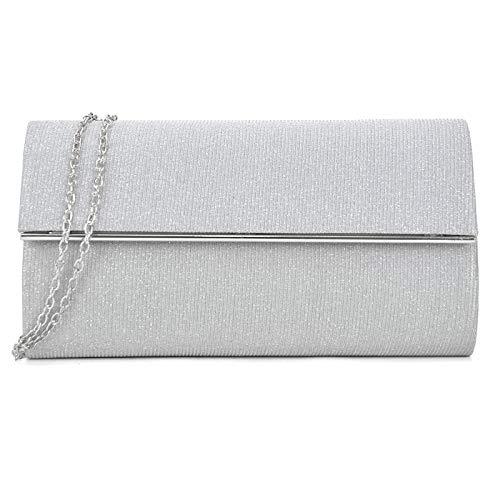 Women's Evening Bag Glitter Clutch Wedding Bridal Purse Sparkle Cocktail Party Prom Handbag (Silver + silver hardware)