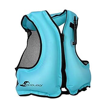 OMOUBOI Inflatable Snorkel Jacket Adult with Leg Straps for Men Women Snorkel Vest for Snorkeling Diving Swimming-New Packaging Blue