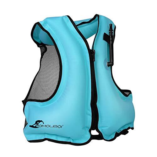 OMOUBOI Inflatable Snorkel Jacket Adult with Leg Straps for Men Women Snorkel Vest for Snorkeling Diving Swimming-New Packaging(Blue)