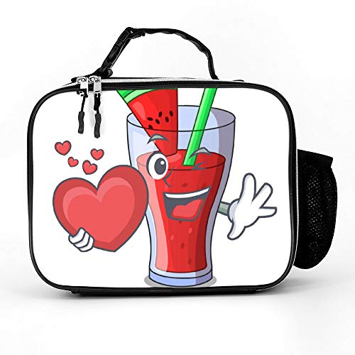 happygoluck1y Met Hart Watermeloen Sap Met Watermeloen Fruit Lunch Tassen Geïsoleerde Rits met Zakken Draagbare Lunchbox voor Vrouwen voor Werk voor Kinderen