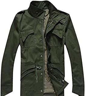 Men's Slim Fit Jacket Coat Button Hoody GMF-3691 Army Green L