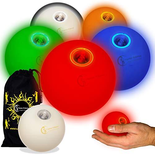 5X Glow Jonglierbälle Leuchtend, Led Jonglierbälle 5er Set - Profi LED bälle+ Reisetasche! Mischen