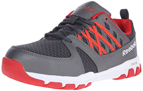 Reebok Work Men's Sublite RB4005 Work Shoe, Grey/Red, 10.5 M US