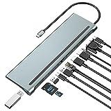 Hub USB C Dual HDMI, Hub USB C Adaptador, Docking Station 12 en 1 Dual HDMI, VGA, 3 USB 3.0, PD, Lector de Tarjetas SD / TF para MacBook, DELL XPS 13/15, Matebook, Lenovo, HP, etc.