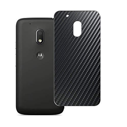 Vaxson 2 Unidades Protector de pantalla Posterior, compatible con Motorola Moto G4 Play XT1607, Película Protectora Espalda Skin Cover - Fibra de Carbono Negro