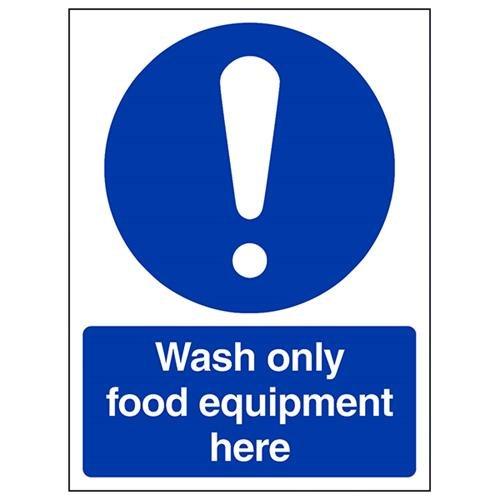 VSafety 44018AN-R Verplicht Catering Sign, Stijf Kunststof, Voedselhygiëne/Was Alleen Voedsel Apparatuur Hier, Portret, 150 mm x 200 mm, Blauw