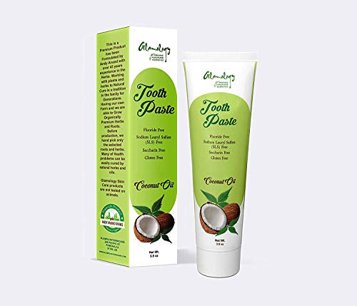 Price comparison product image Glamology Herbal Whitening Toothpaste,  Fluoride-free,  Antiplaque,  Extreme Whitening Advanced gum Protection Toothpaste MADE From COCONUT,  CLOVE,  GINSENG,  BRAHMI,  AMLA in Light (3 Pack)