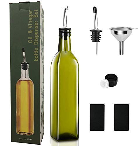 PANENDIANO Olivenöl Spender Flasche 1PCS 500ML mit Ausgieße Speiseöl Essig Messspender Set mit Trichter für Küche Grill Pasta Salate und Backen