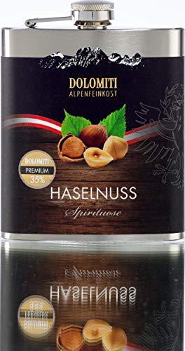 DOLOMITI Haselnuss Schnaps Flachmann │ Haselnuss Premium Spirituose 35% vol. │ Robuster, edler Flachmann aus Edelstahl │ 0.2 Liter
