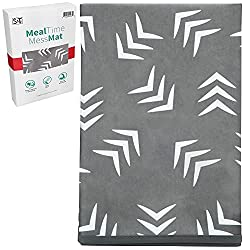 top 10 high chair mats STS Baby 527701 Machine washable waterproof mat for meals – 42 x 42 inches, gray…