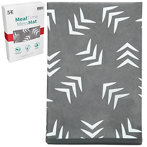 STS Baby 527701 Water Resistant, Machine Washable Meal Time Mess Mat - 42 Inch x 42 Inch, Grey Scatter Print
