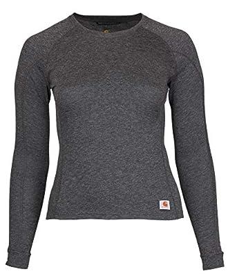 Carhartt Women's Force Heavyweight Thermal Base Layer Long Sleeve Pocket Shirt, Deep Black Heather, Medium