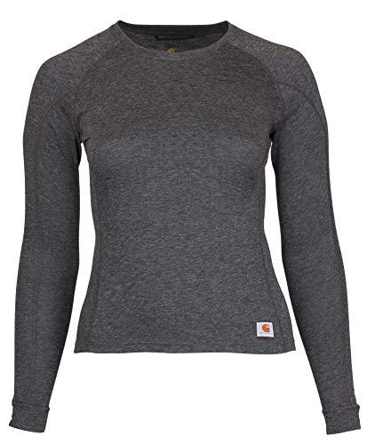 Carhartt Women's Force Heavyweight Thermal Base Layer Long Sleeve Pocket Shirt, Black Heather, Large