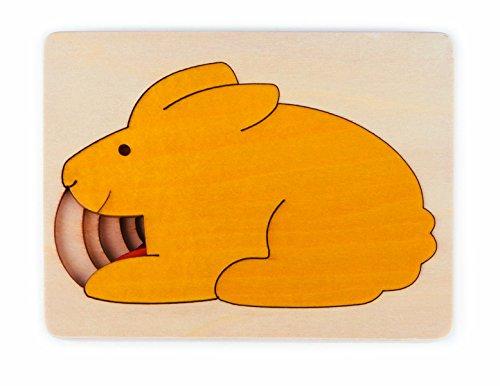 Hape - E6515 - George Luck - Puzzle en bois- cinq Lapins en un - 6 pièces