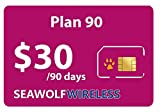 Seawolf Wireless Prepaid SIM Card Plan 90 - Call and Text in USA Canada and International Countries - Use Your Unlocked GSM Phone - Keep Your Old Phone Number