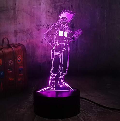 Lámpara de decoración de Halloween Kakashi 6D LED Naruto Anime Lámpara de mesa Lámpara de mesa de noche inteligente para niño