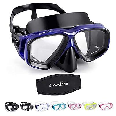 OMGear Diving Mask Snorkeling Gear Kids Adult Snorkel Mask Dive Goggles Silicone Swim Glasses Scuba Free Diving Spearfishing Anti-Leak Anti-Fog Neoprene Strap Cover(Blue?Black)