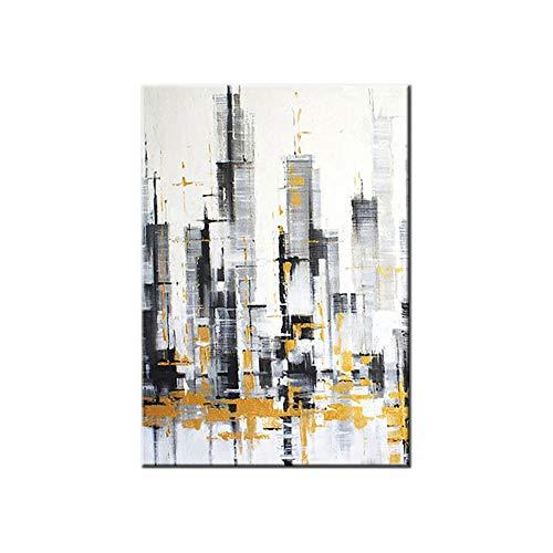 HIMAmonkey 100% Pintura Al Óleo Pintado A Mano Cuadros Abstractos Modernos Ciudad Arte De Pared sobre Lienzo Estirada Y Enmarcado Decoración Listo para Colgar,20'*40'(50 * 100cm)