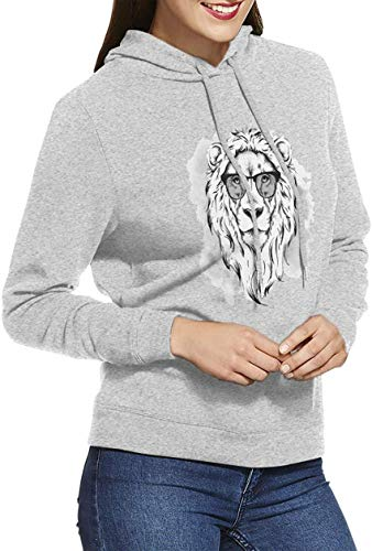 Lion with Sunglasses Women Long Sleeve Unique Casual Hooded Pullover Black