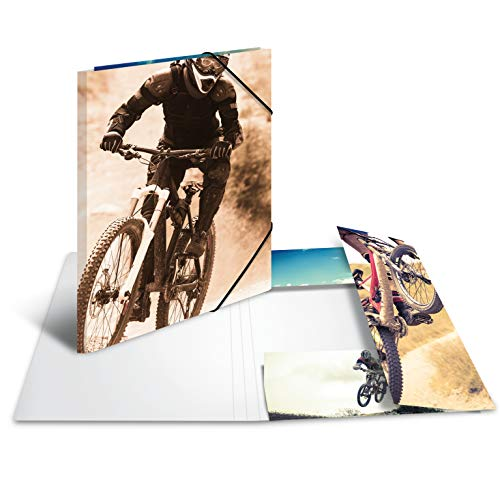 HERMA 19228 Sammelmappe DIN A4 Impressions Mountainbike aus stabilem Karton mit bedruckten Innenklappen, Gummizugmappe, Eckspanner-Mappe, 1 Zeichenmappe für Kinder