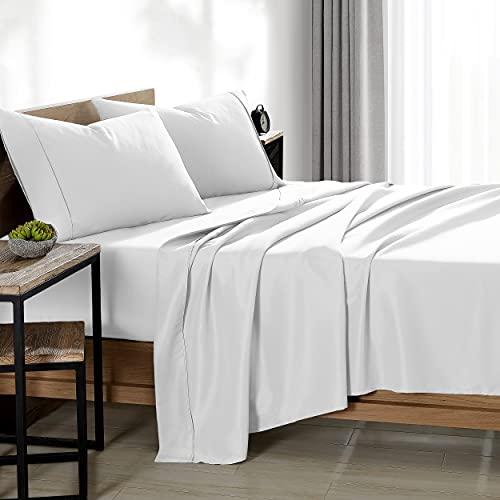 Bare Home Split Head Flex King Sheet Set - 1800 Ultra-Soft Microfiber Bed Sheets - Double Brushed - Split Head Flex King Sheets Set - Deep Pocket - Bed Sheets (Split Head Flex King, White)
