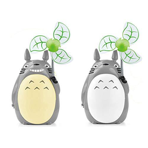HBLWX Totoro Anime LED-Ventilator Leselampe Mini-Fans Niedliches Haustier Design für Schlafsaal Schule Schlafsaal,White