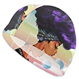 Swim Cap Afro Girl African American Swimming Hat for Adult Unisex Bathing Cap Swimming Pool Big Head Hair for Men Women White
