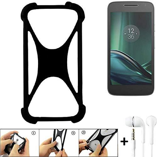 K-S-Trade Handyhülle Für Lenovo Moto G (4. Gen.) Play Schutzhülle Bumper Silikon Schutz Hülle Cover Hülle Silikoncase Silikonbumper TPU Softcase Smartphone, Schwarz (1x), Headphones